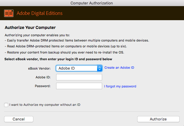 Authorize your Adobe Digital Editions to download epub