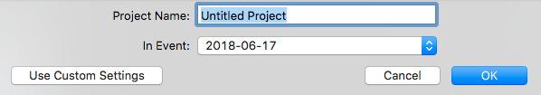 Creating a project on your external hard drive